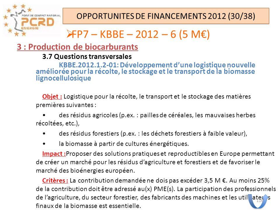 3 : Production de biocarburants 3.7 Questions transversales KBBE.2012.1.2-01: Développement dune logistique nouvelle améliorée pour la récolte, le sto