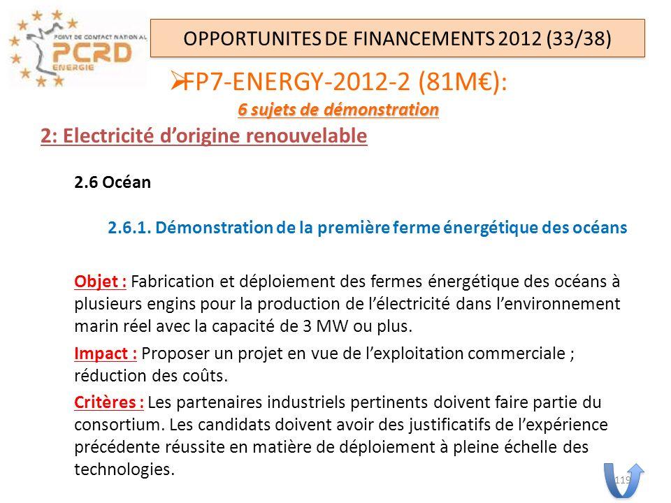 2: Electricité dorigine renouvelable 2.6 Océan 2.6.1. Démonstration de la première ferme énergétique des océans Objet : Fabrication et déploiement des