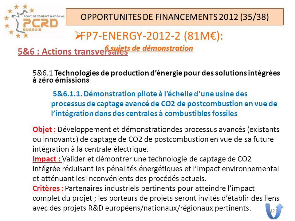 5&6 : Actions transversales 5&6.1 Technologies de production dénergie pour des solutions intégrées à zéro émissions 5&6.1.1. Démonstration pilote à lé