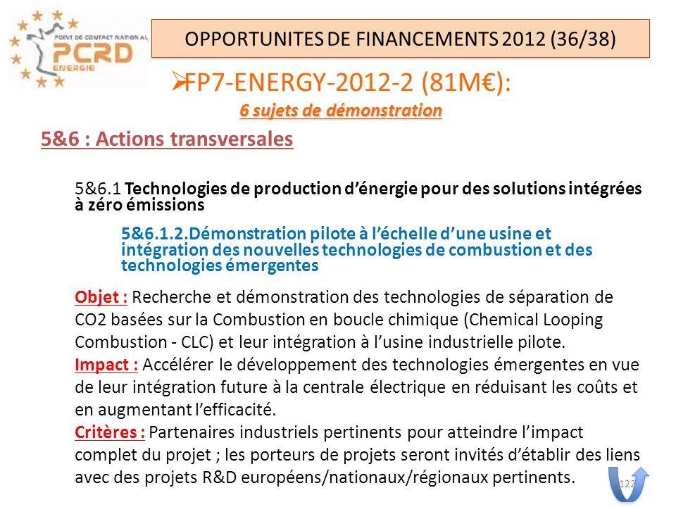 5&6 : Actions transversales 5&6.1 Technologies de production dénergie pour des solutions intégrées à zéro émissions 5&6.1.2.Démonstration pilote à léc