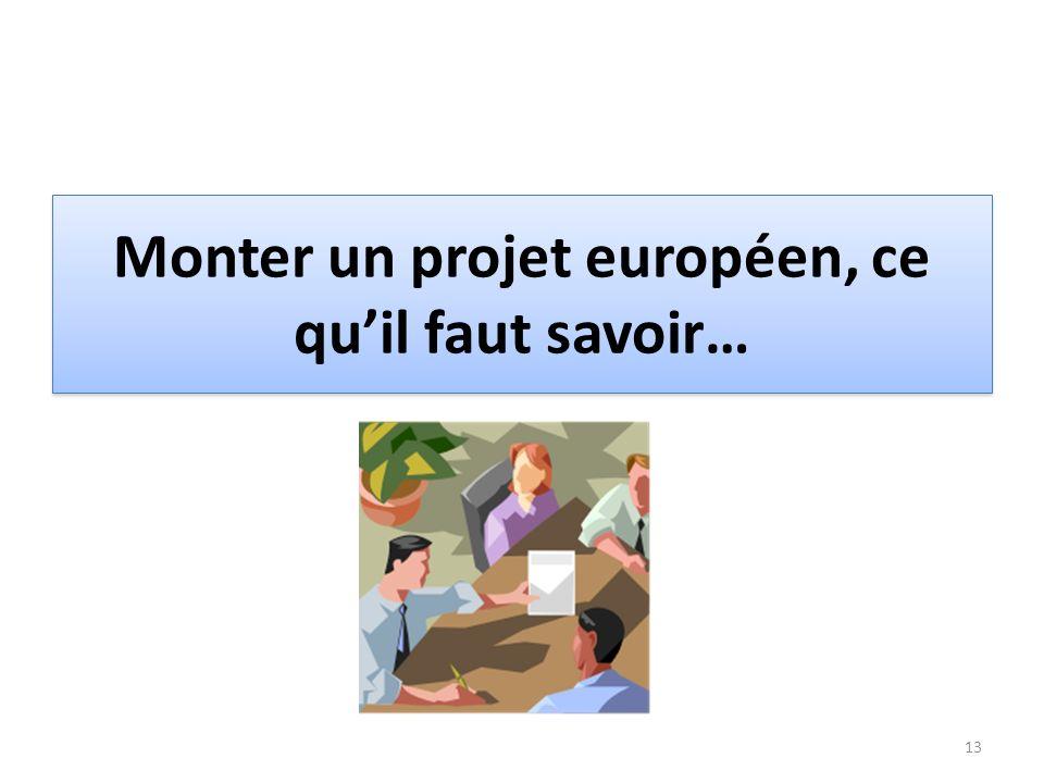 Monter un projet européen, ce quil faut savoir… 13