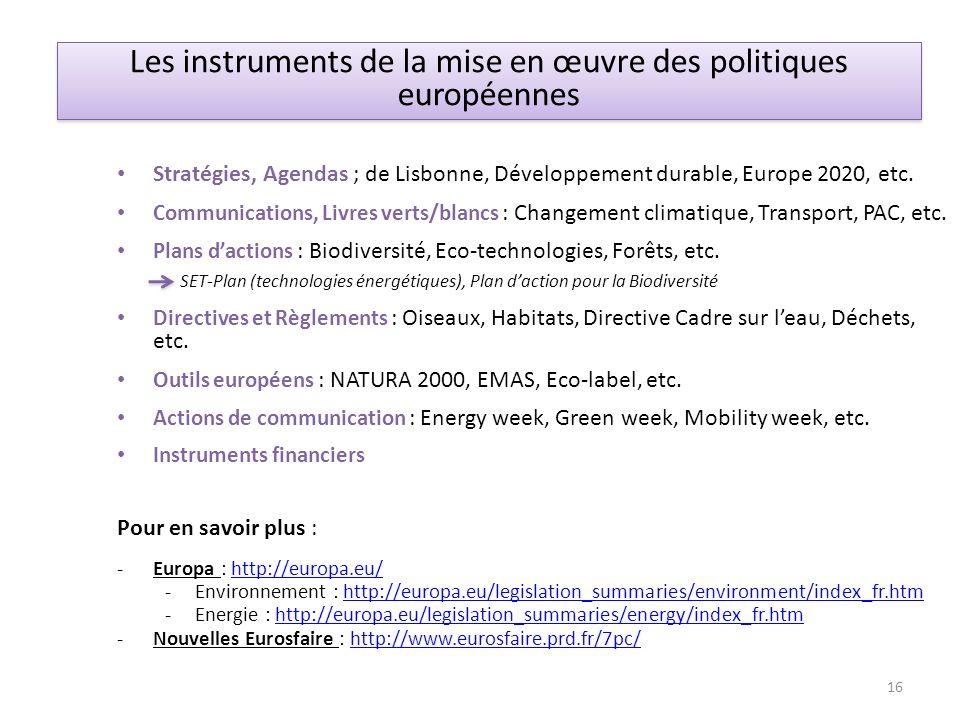 Stratégies, Agendas ; de Lisbonne, Développement durable, Europe 2020, etc. Communications, Livres verts/blancs : Changement climatique, Transport, PA