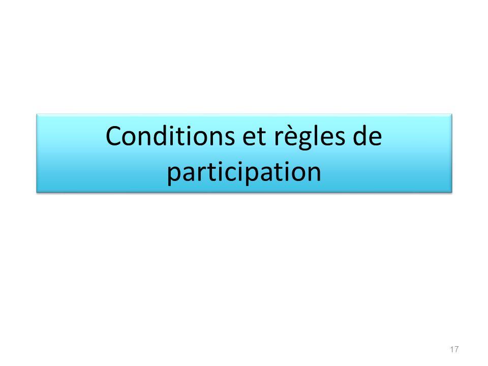 Conditions et règles de participation 17