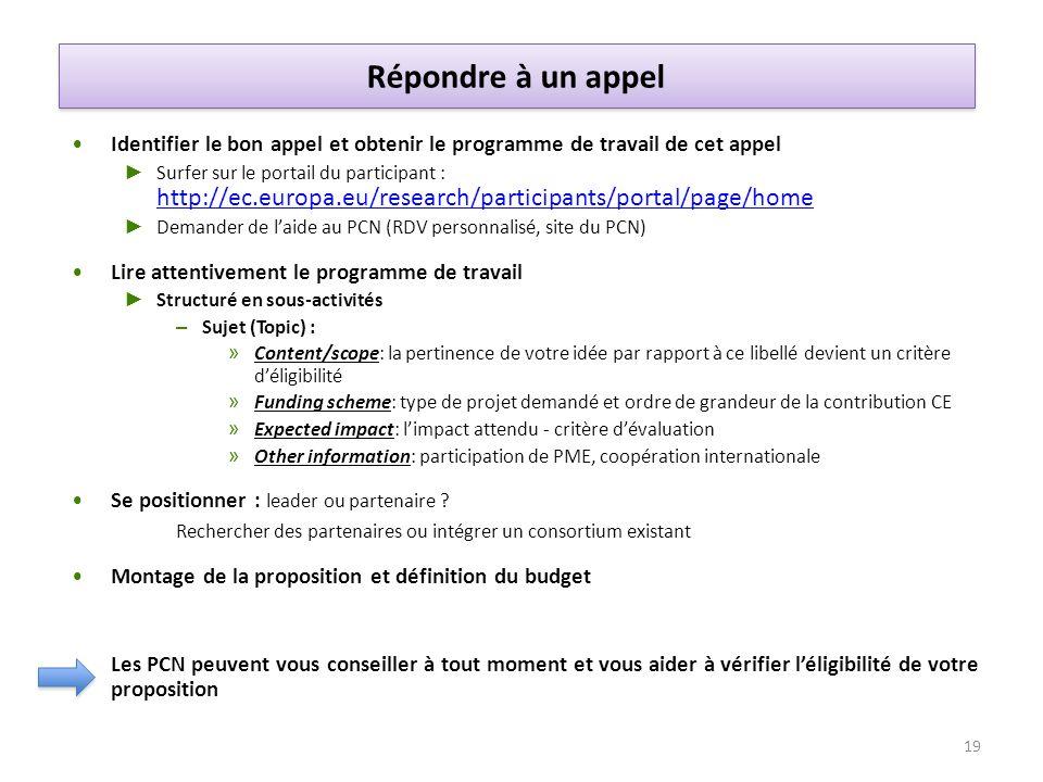 Identifier le bon appel et obtenir le programme de travail de cet appel Surfer sur le portail du participant : http://ec.europa.eu/research/participan