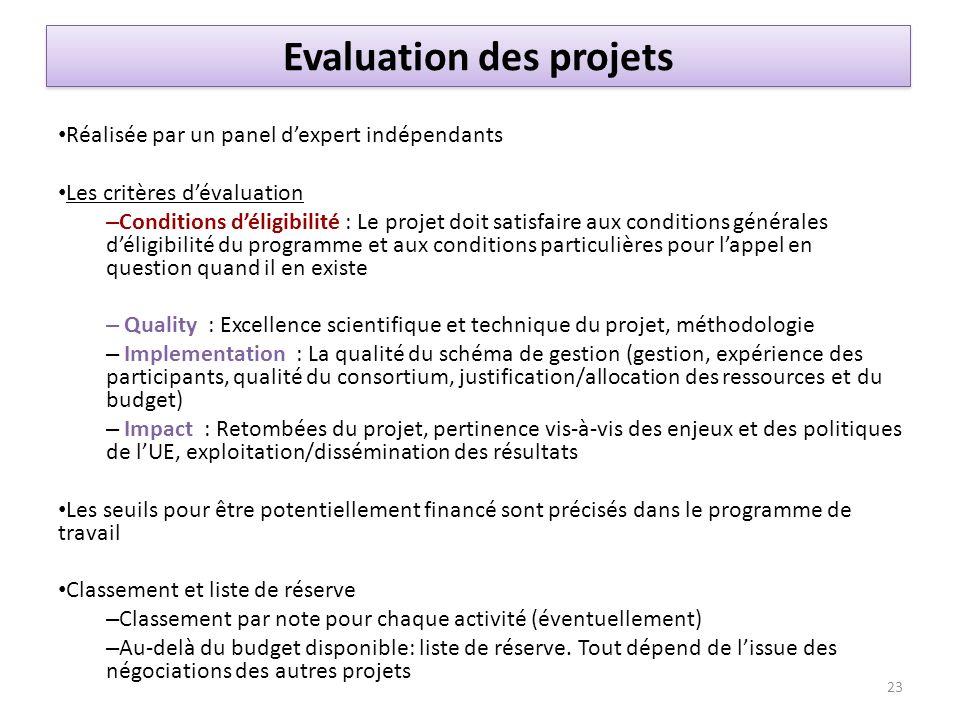 Réalisée par un panel dexpert indépendants Les critères dévaluation – Conditions déligibilité : Le projet doit satisfaire aux conditions générales dél