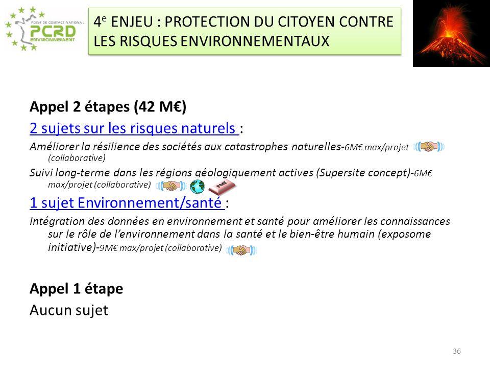 4 e ENJEU : PROTECTION DU CITOYEN CONTRE LES RISQUES ENVIRONNEMENTAUX Appel 2 étapes (42 M) 2 sujets sur les risques naturels 2 sujets sur les risques
