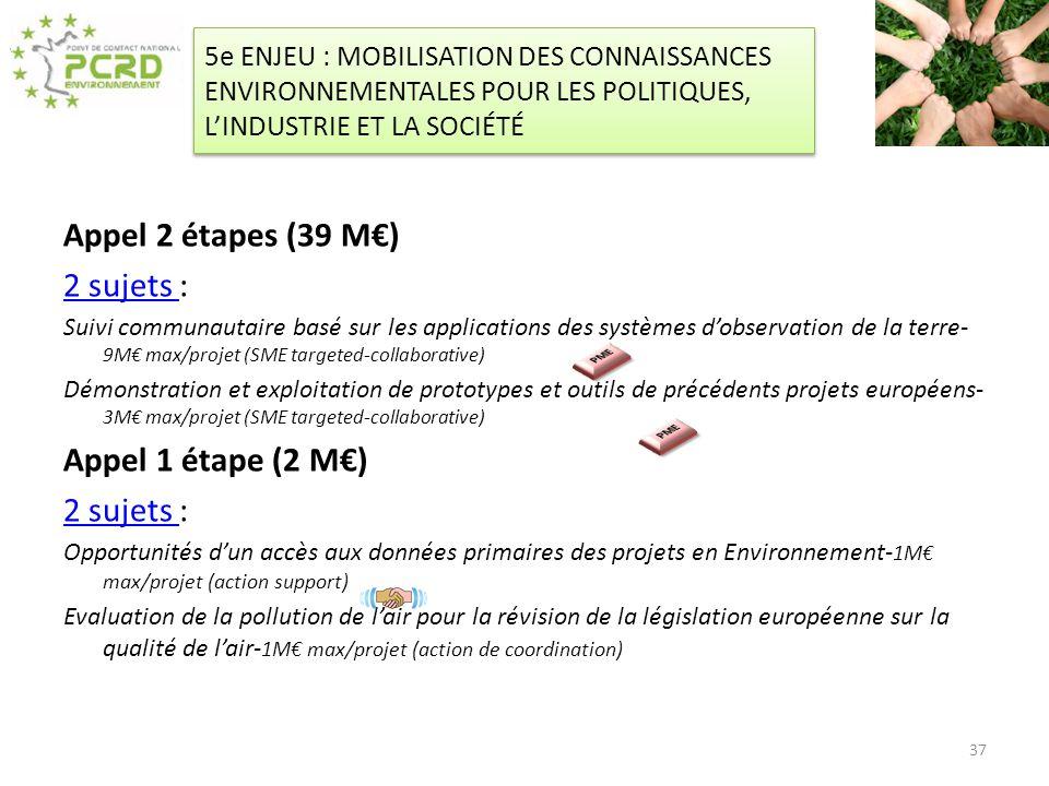 5e ENJEU : MOBILISATION DES CONNAISSANCES ENVIRONNEMENTALES POUR LES POLITIQUES, LINDUSTRIE ET LA SOCIÉTÉ Appel 2 étapes (39 M) 2 sujets 2 sujets : Su