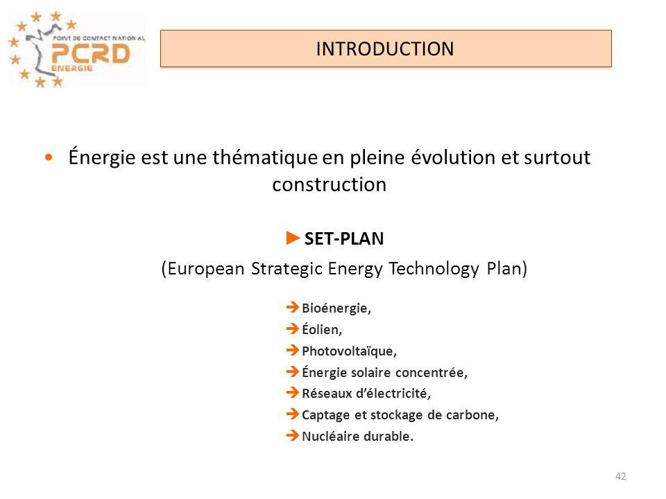 Énergie est une thématique en pleine évolution et surtout construction SET-PLAN (European Strategic Energy Technology Plan) Bioénergie, Éolien, Photov