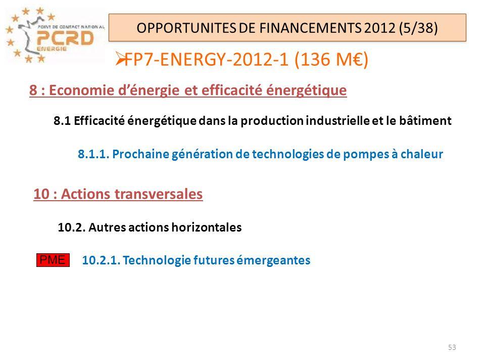 FP7-ENERGY-2012-1 (136 M) OPPORTUNITES DE FINANCEMENTS 2012 (5/38) 8 : Economie dénergie et efficacité énergétique 8.1 Efficacité énergétique dans la