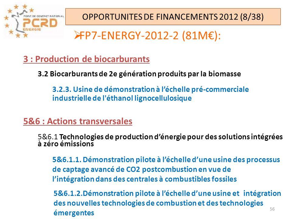 OPPORTUNITES DE FINANCEMENTS 2012 (8/38) FP7-ENERGY-2012-2 (81M): 3 : Production de biocarburants 3.2 Biocarburants de 2e génération produits par la b