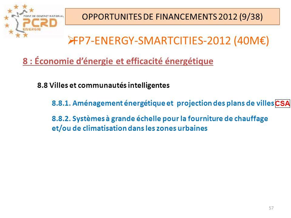 OPPORTUNITES DE FINANCEMENTS 2012 (9/38) FP7-ENERGY-SMARTCITIES-2012 (40M) 8 : Économie dénergie et efficacité énergétique 8.8 Villes et communautés i