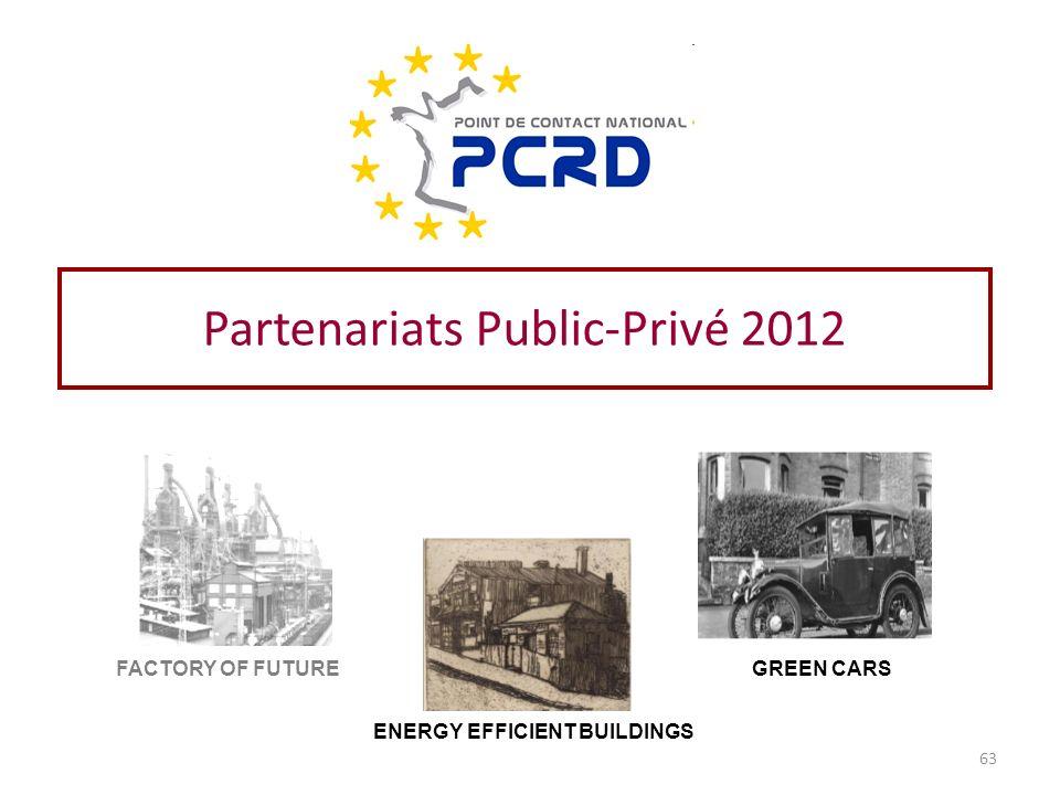 Partenariats Public-Privé 2012 FACTORY OF FUTURE ENERGY EFFICIENT BUILDINGS GREEN CARS 63
