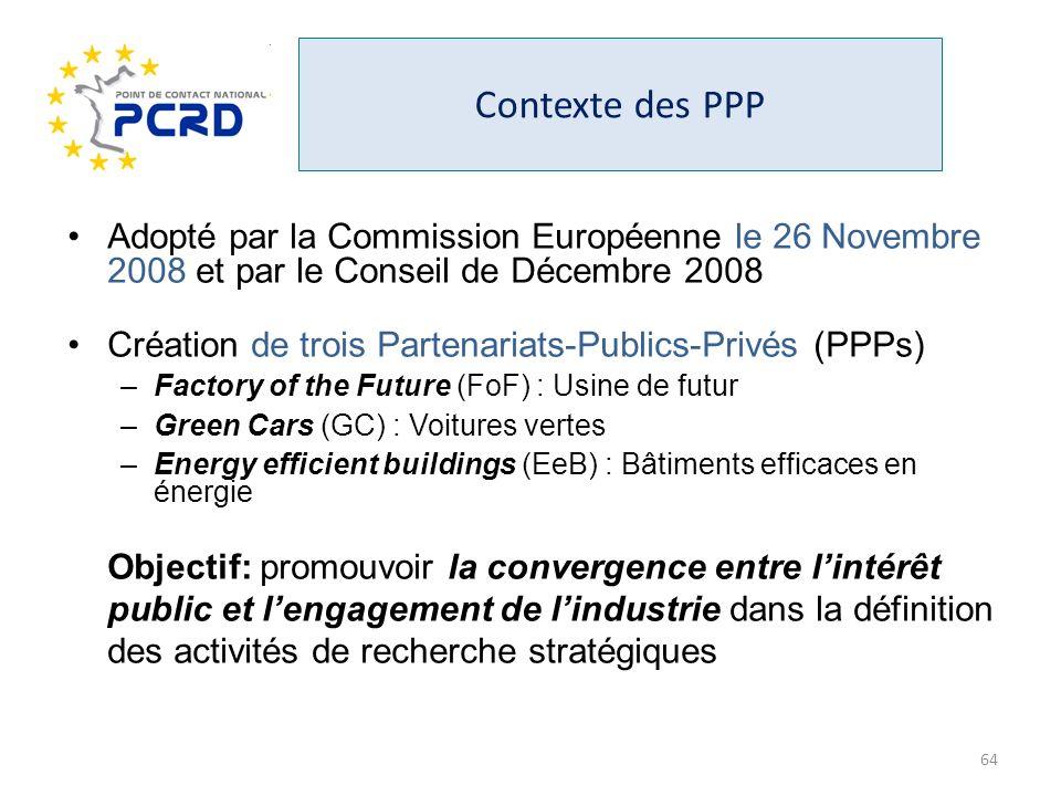 Contexte des PPP Adopté par la Commission Européenne le 26 Novembre 2008 et par le Conseil de Décembre 2008 Création de trois Partenariats-Publics-Pri