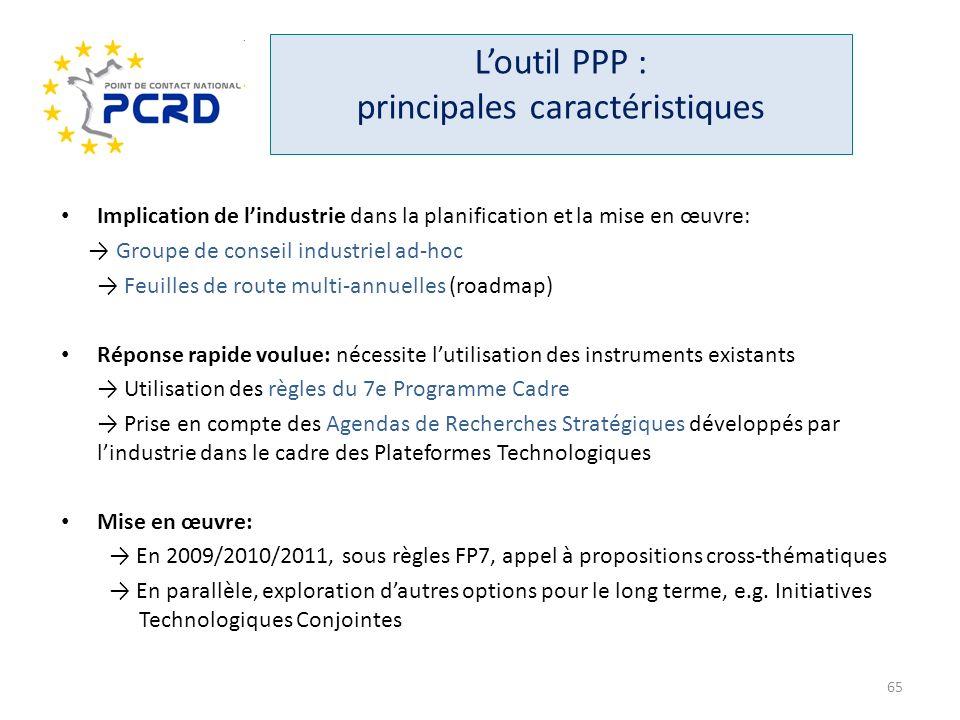 Loutil PPP : principales caractéristiques Implication de lindustrie dans la planification et la mise en œuvre: Groupe de conseil industriel ad-hoc Feu