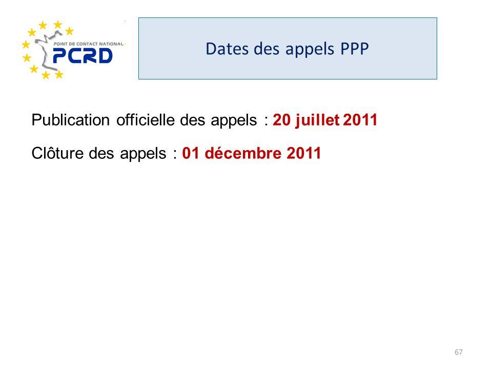 Dates des appels PPP Publication officielle des appels : 20 juillet 2011 Clôture des appels : 01 décembre 2011 67
