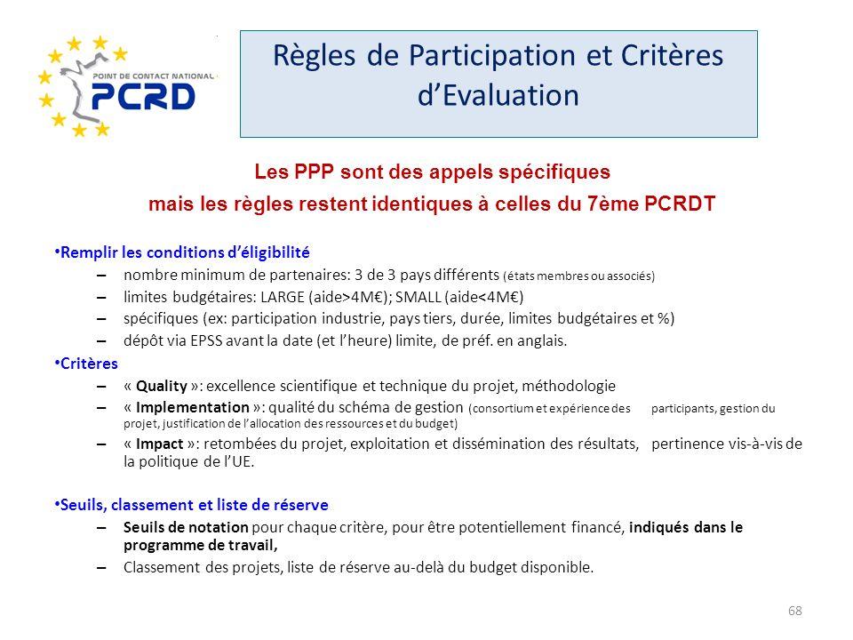 Règles de Participation et Critères dEvaluation Les PPP sont des appels spécifiques mais les règles restent identiques à celles du 7ème PCRDT Remplir