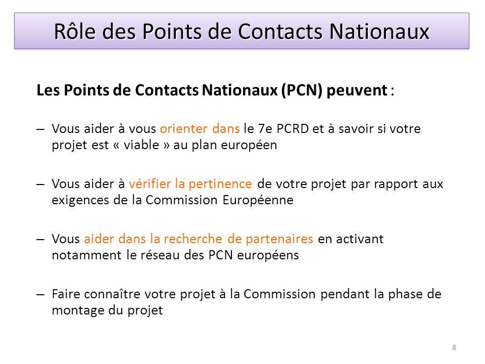 Les Points de Contacts Nationaux (PCN) peuvent : – Vous aider à vous orienter dans le 7e PCRD et à savoir si votre projet est « viable » au plan europ