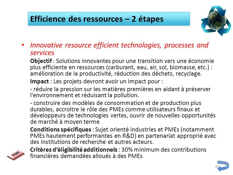 Innovative resource efficient technologies, processes and services Objectif : Solutions innovantes pour une transition vers une économie plus efficien