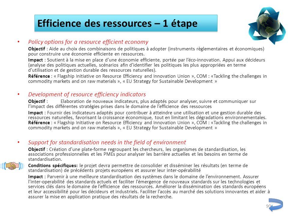 Policy options for a resource efficient economy Objectif : Aide au choix des combinaisons de politiques à adopter (instruments règlementaires et écono