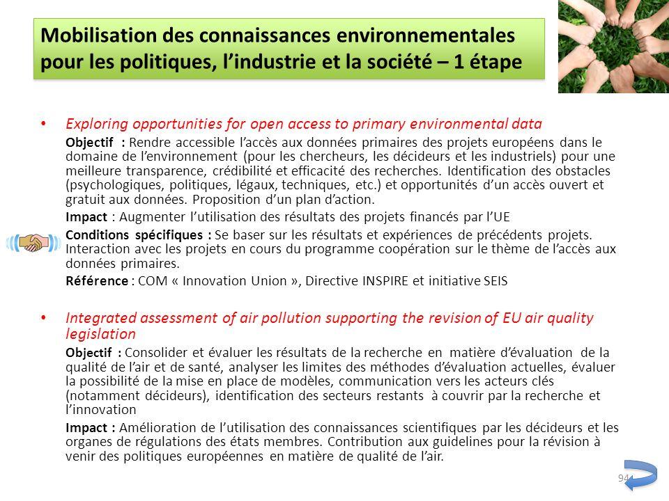 Exploring opportunities for open access to primary environmental data Objectif : Rendre accessible laccès aux données primaires des projets européens