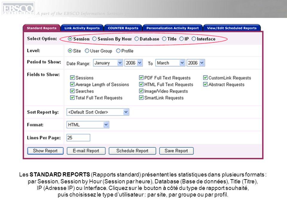Les STANDARD REPORTS (Rapports standard) présentent les statistiques dans plusieurs formats : par Session, Session by Hour (Session par heure), Database (Base de données), Title (Titre), IP (Adresse IP) ou Interface.