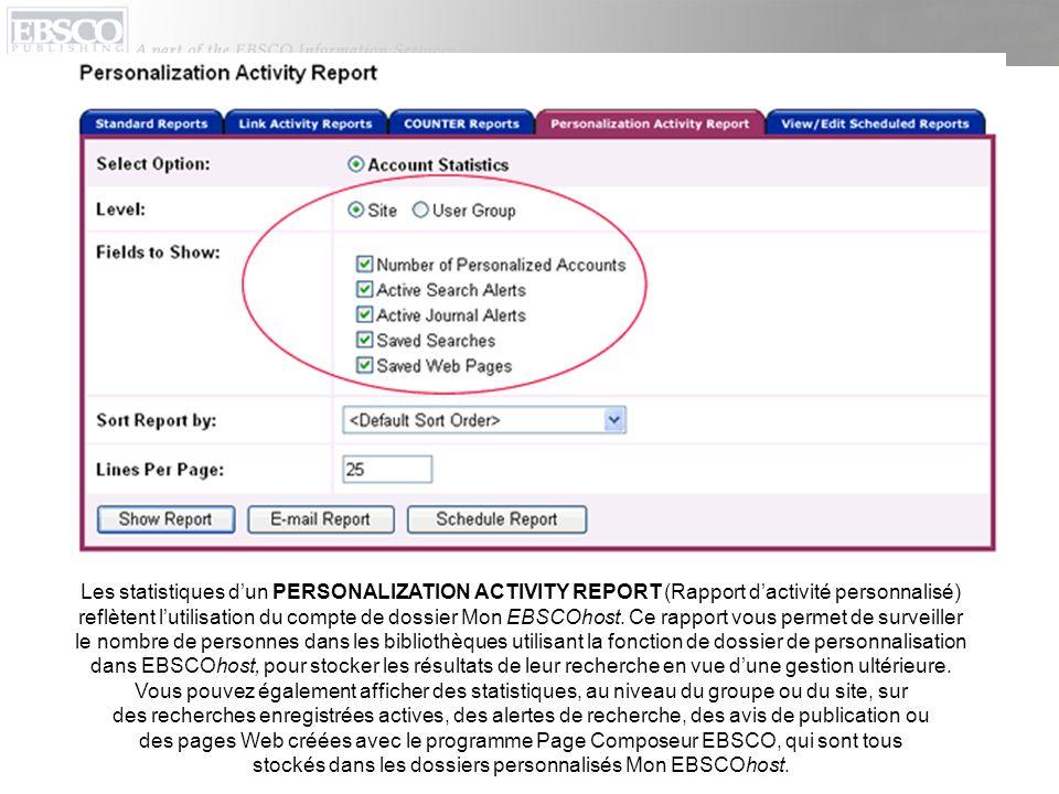 Les statistiques dun PERSONALIZATION ACTIVITY REPORT (Rapport dactivité personnalisé) reflètent lutilisation du compte de dossier Mon EBSCOhost.