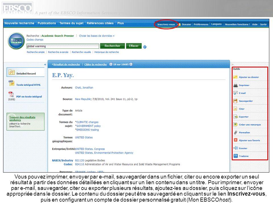 Cliquez sur le lien Aide pour afficher le système daide en ligne complet.