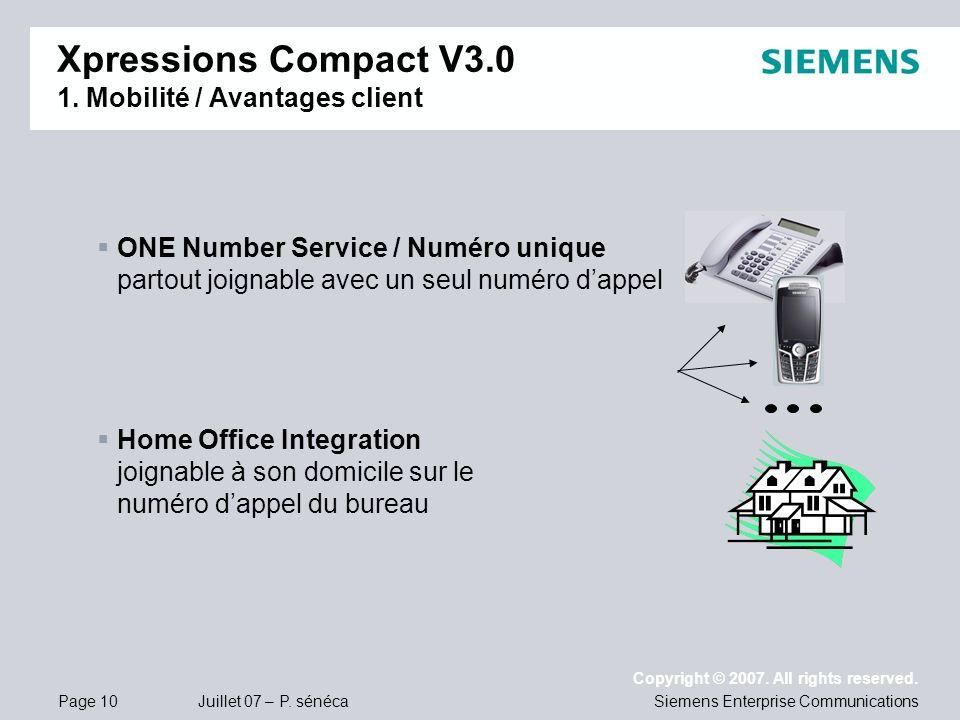 Page 10 Juillet 07 – P. sénéca Copyright © 2007. All rights reserved. Siemens Enterprise Communications Xpressions Compact V3.0 1. Mobilité / Avantage