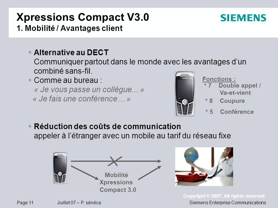 Page 11 Juillet 07 – P. sénéca Copyright © 2007. All rights reserved. Siemens Enterprise Communications Alternative au DECT Communiquer partout dans l