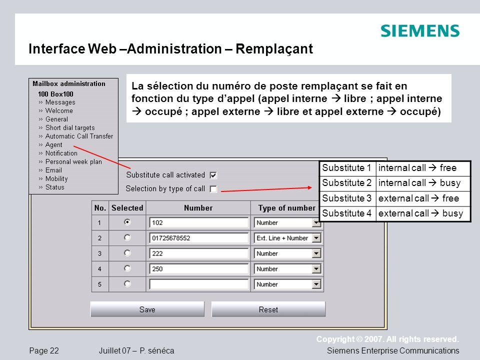 Page 22 Juillet 07 – P. sénéca Copyright © 2007. All rights reserved. Siemens Enterprise Communications Interface Web –Administration – Remplaçant La