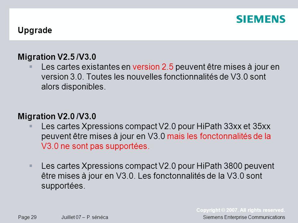 Page 29 Juillet 07 – P. sénéca Copyright © 2007. All rights reserved. Siemens Enterprise Communications Upgrade Migration V2.5 /V3.0 Les cartes exista