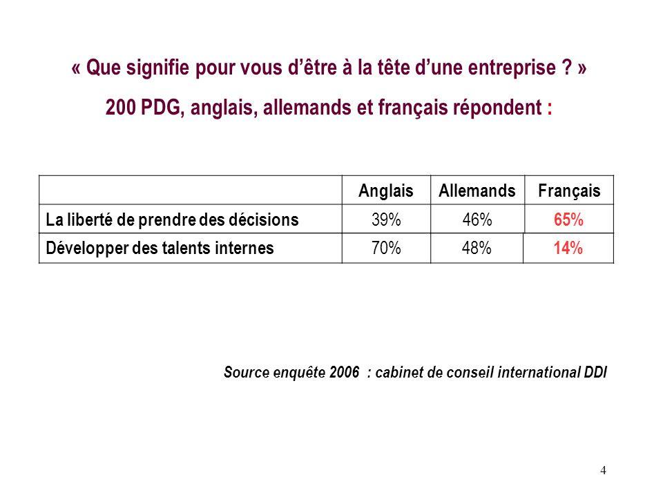 4 Source enquête 2006 : cabinet de conseil international DDI « Que signifie pour vous dêtre à la tête dune entreprise ? » 200 PDG, anglais, allemands
