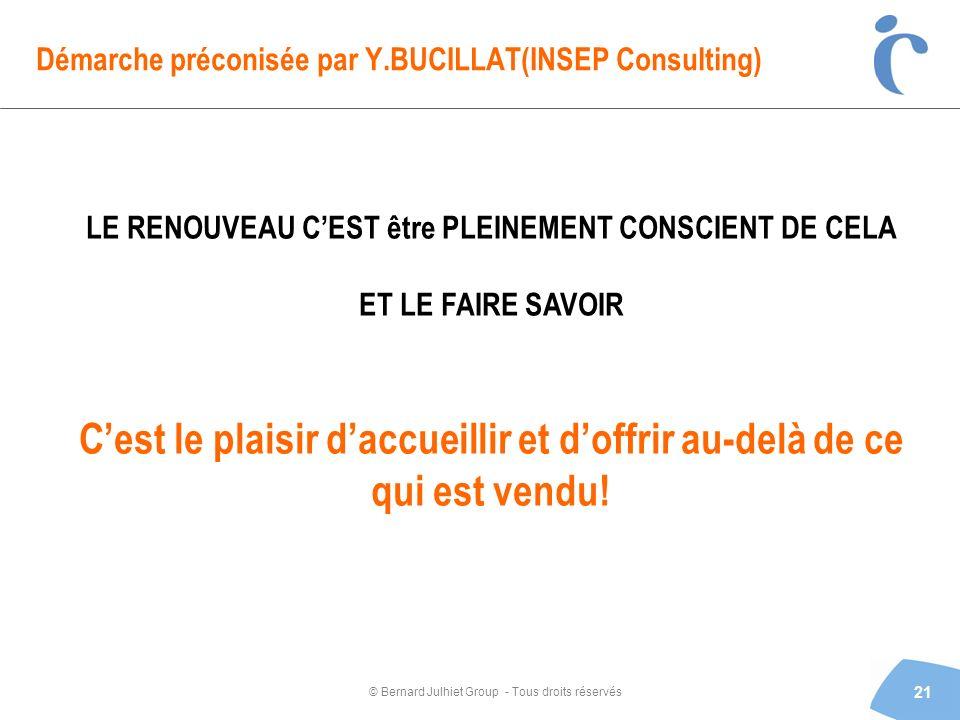 © Bernard Julhiet Group - Tous droits réservés Démarche préconisée par Y.BUCILLAT(INSEP Consulting) 21 LE RENOUVEAU CEST être PLEINEMENT CONSCIENT DE