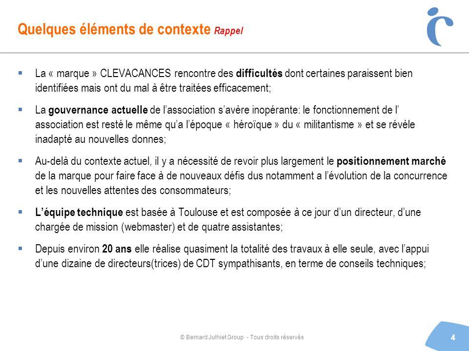 © Bernard Julhiet Group - Tous droits réservés Quelques éléments de contexte Rappel La « marque » CLEVACANCES rencontre des difficultés dont certaines