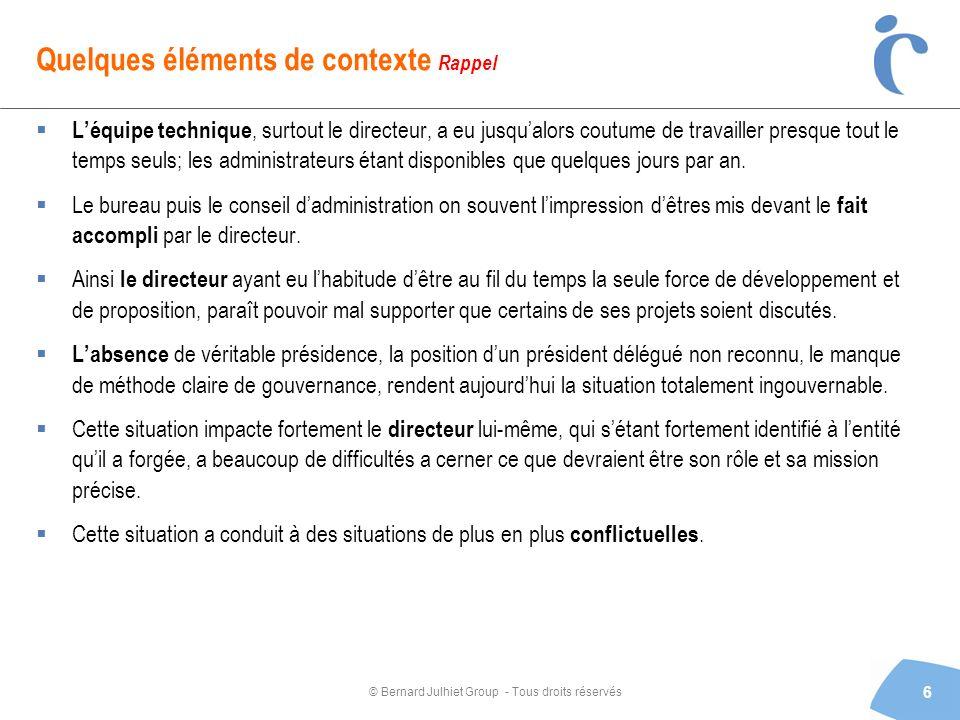 © Bernard Julhiet Group - Tous droits réservés Quelques éléments de contexte Rappel Léquipe technique, surtout le directeur, a eu jusqualors coutume d