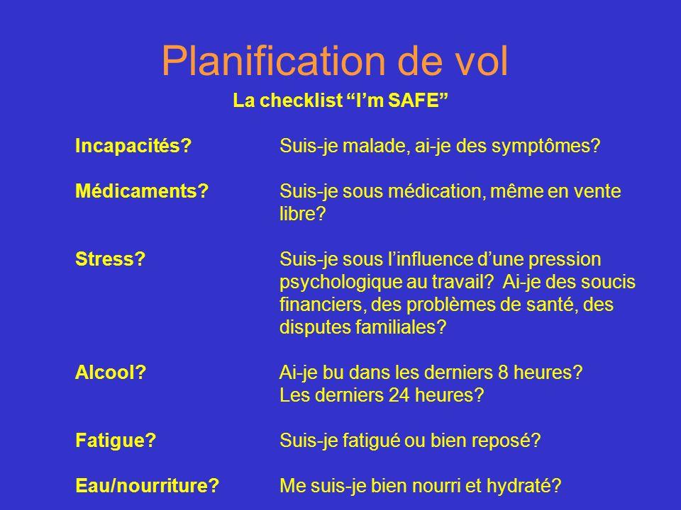 Planification de vol La checklist Im SAFE Incapacités?Suis-je malade, ai-je des symptômes? Médicaments?Suis-je sous médication, même en vente libre? S