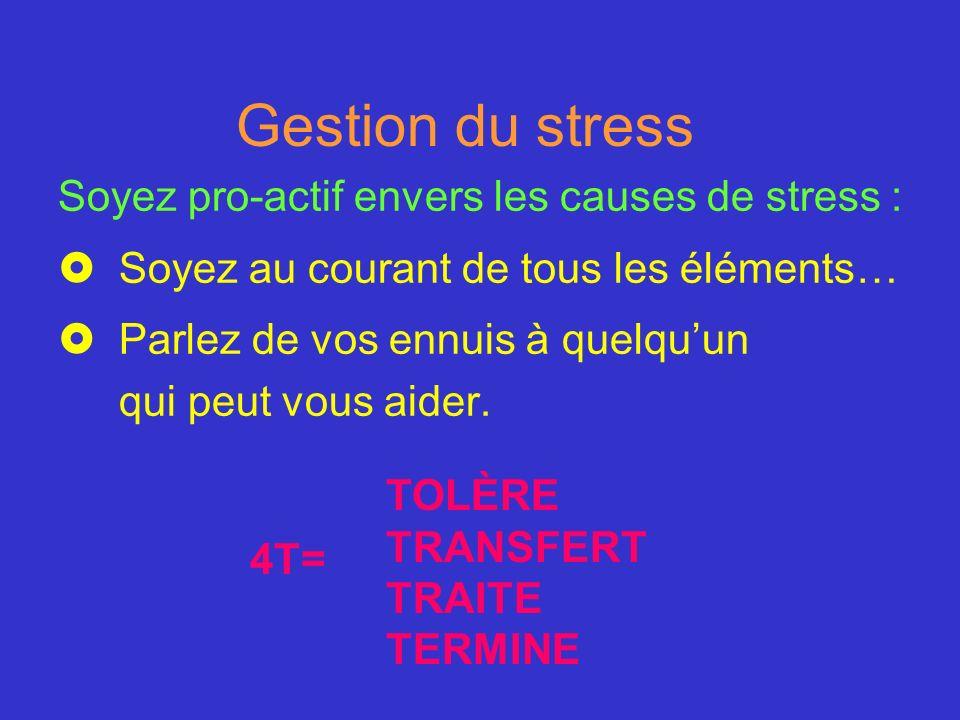 Gestion du stress Soyez pro-actif envers les causes de stress : £Soyez au courant de tous les éléments… £Parlez de vos ennuis à quelquun qui peut vous