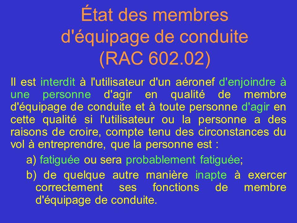 État des membres d'équipage de conduite (RAC 602.02) Il est interdit à l'utilisateur d'un aéronef d'enjoindre à une personne d'agir en qualité de memb