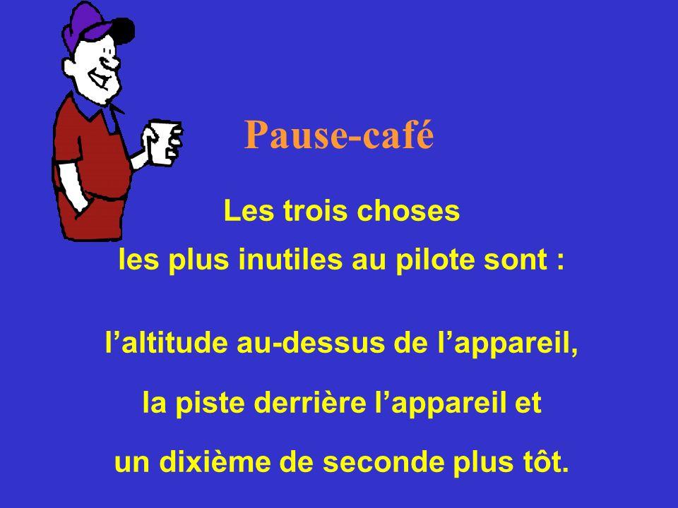 Pause-café Les trois choses les plus inutiles au pilote sont : laltitude au-dessus de lappareil, la piste derrière lappareil et un dixième de seconde