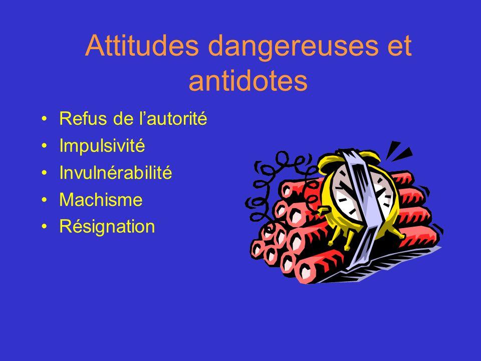 Attitudes dangereuses et antidotes Refus de lautorité Impulsivité Invulnérabilité Machisme Résignation