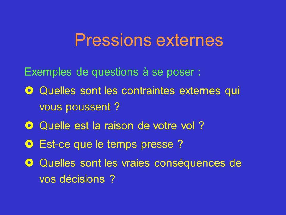 Pressions externes Exemples de questions à se poser : £Quelles sont les contraintes externes qui vous poussent ? £Quelle est la raison de votre vol ?