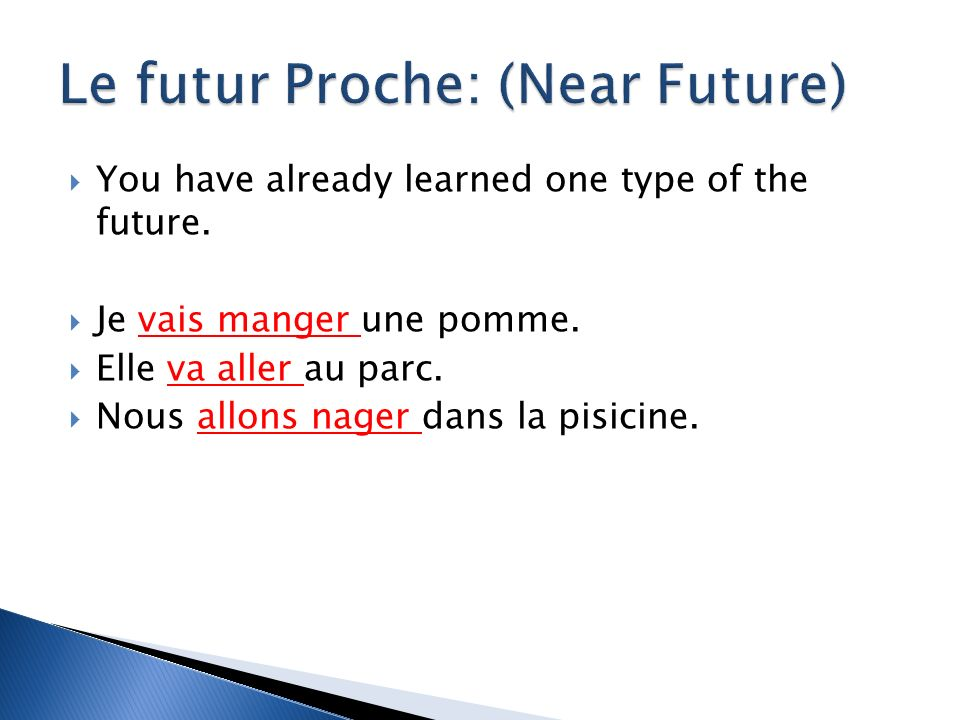 You have already learned one type of the future. Je vais manger une pomme.