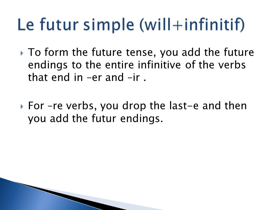 To form the future tense, you add the future endings to the entire infinitive of the verbs that end in –er and –ir.