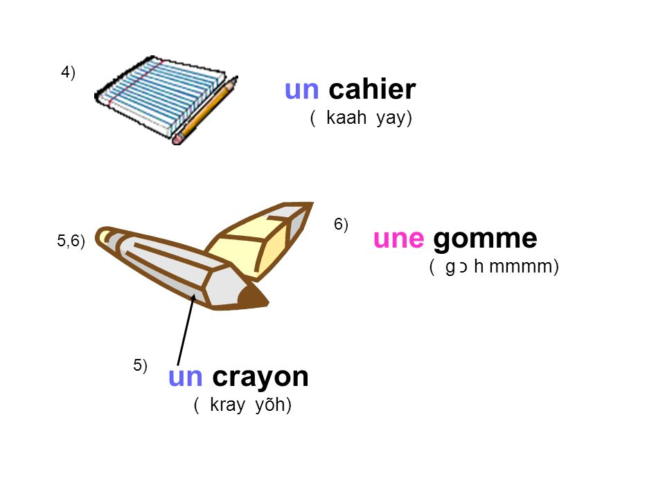 7) un taille-crayon ( tie yuh kray yõh) 8) un stylo ou des stylos ( stee lo) (day stee lo) 9) une trousse ( true s)