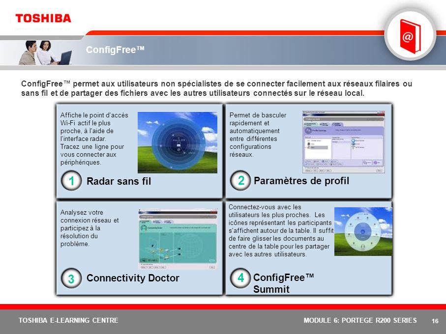 15 TOSHIBA E-LEARNING CENTREMODULE 6: PORTEGE R200 SERIES Toshiba Summit Toshiba Summit améliore la productivité pour une fonction efficace de conférence sans fil, qui vous permet de : Envoyer rapidement des fichiers vers dautres ordinateurs et périphériques de la zone locale Créer une salle de réunion virtuelle rassemblant tous les ordinateurs locaux avec lesquels vous souhaitez partager vos fichiers Envoyer un fichier à un seul participant ou le faire glisser au centre de l imagepour le partager avec tous Permet, pour une fonction de partage rapide, de faire glisser un fichier sur l icône radar sans fil