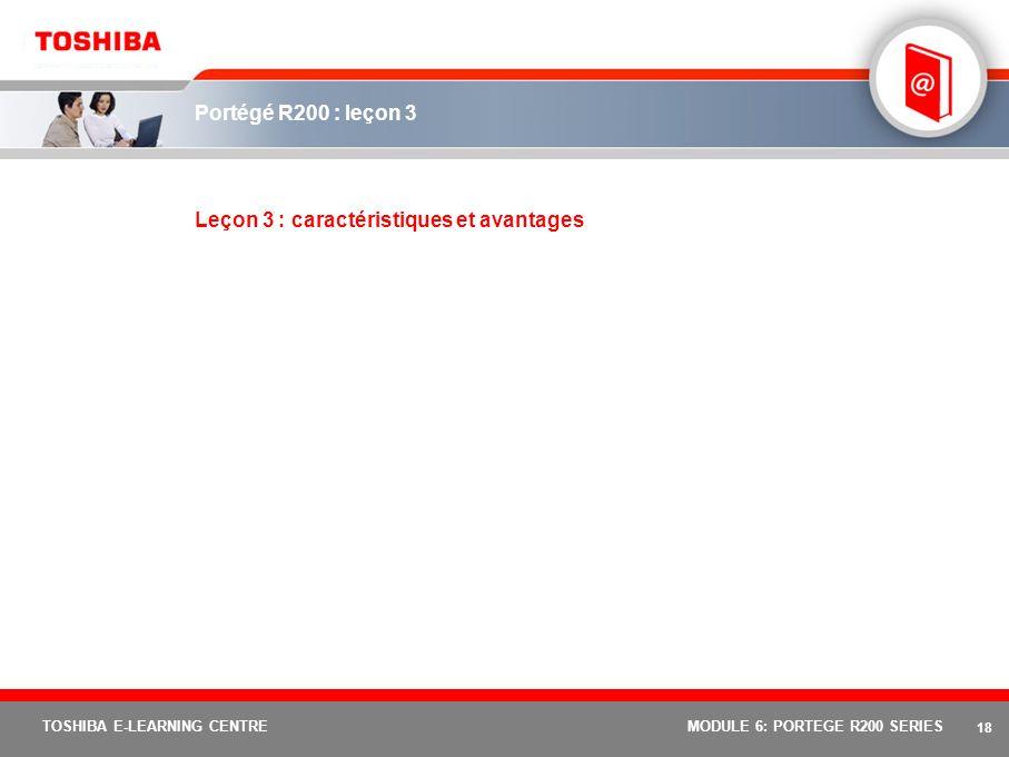 17 TOSHIBA E-LEARNING CENTREMODULE 6: PORTEGE R200 SERIES TPM (Trusted Platform Module, module de plate-forme sécurisée) Quest ce que le TPM (Trusted Platform Module, module de plate-forme sécurisée) .