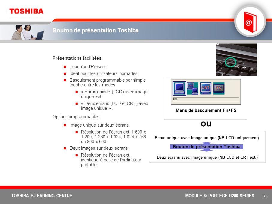 24 TOSHIBA E-LEARNING CENTREMODULE 6: PORTEGE R200 SERIES Connectivité facile LAN sans fil bimode 802.11 b/g intégré Technologie Bluetooth intégrée Port infrarouge (FIR) intégré Port LAN Gigabit Ethernet 10/100/1000 Modem interne international V.90 (prêt pour V.92)