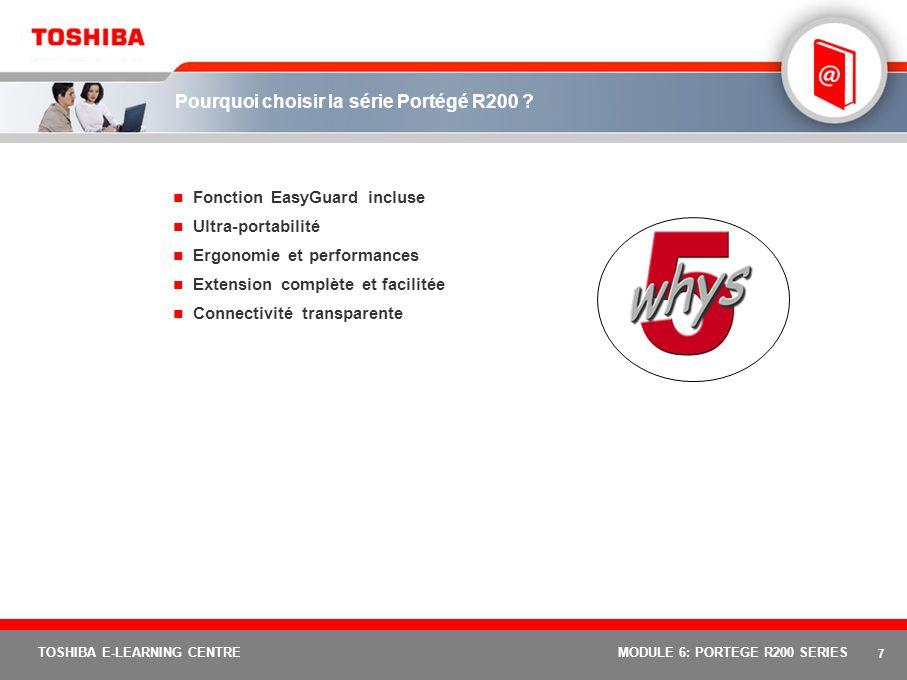 6 TOSHIBA E-LEARNING CENTREMODULE 6: PORTEGE R200 SERIES Portégé R200 : positionnement du produit Portégé R200 : L ultraportable compact et sécurisé dernier cri.