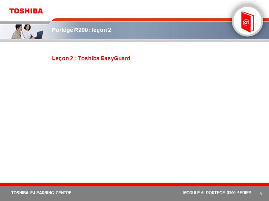 18 TOSHIBA E-LEARNING CENTREMODULE 6: PORTEGE R200 SERIES Portégé R200 : leçon 3 Leçon 3 : caractéristiques et avantages