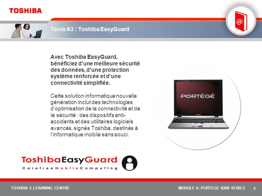 8 TOSHIBA E-LEARNING CENTREMODULE 6: PORTEGE R200 SERIES Portégé R200 : leçon 2 Leçon 2 : Toshiba EasyGuard